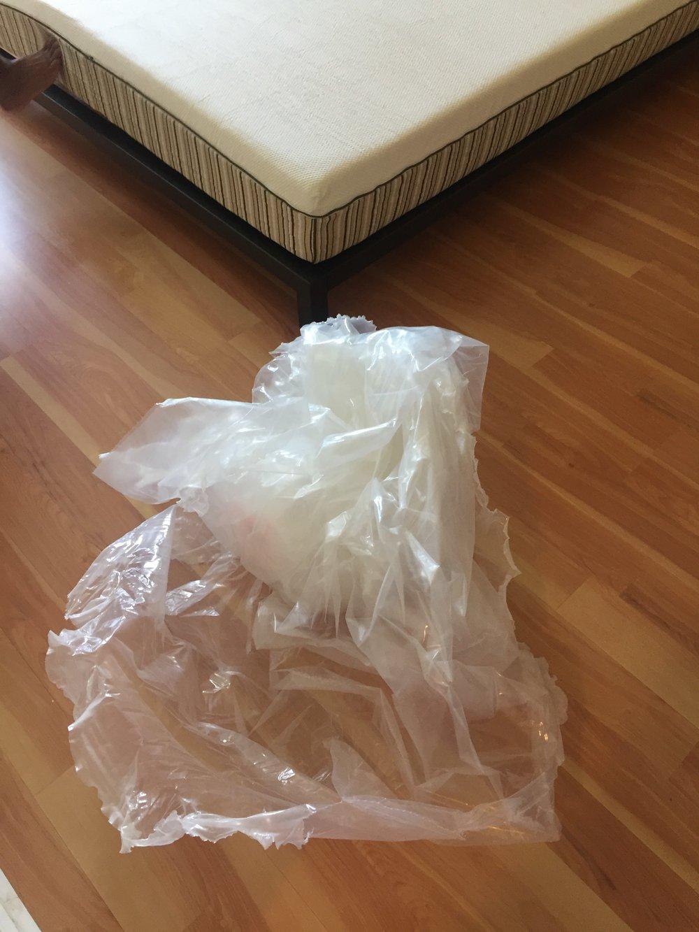Plastic which covered the Essentia mattress.