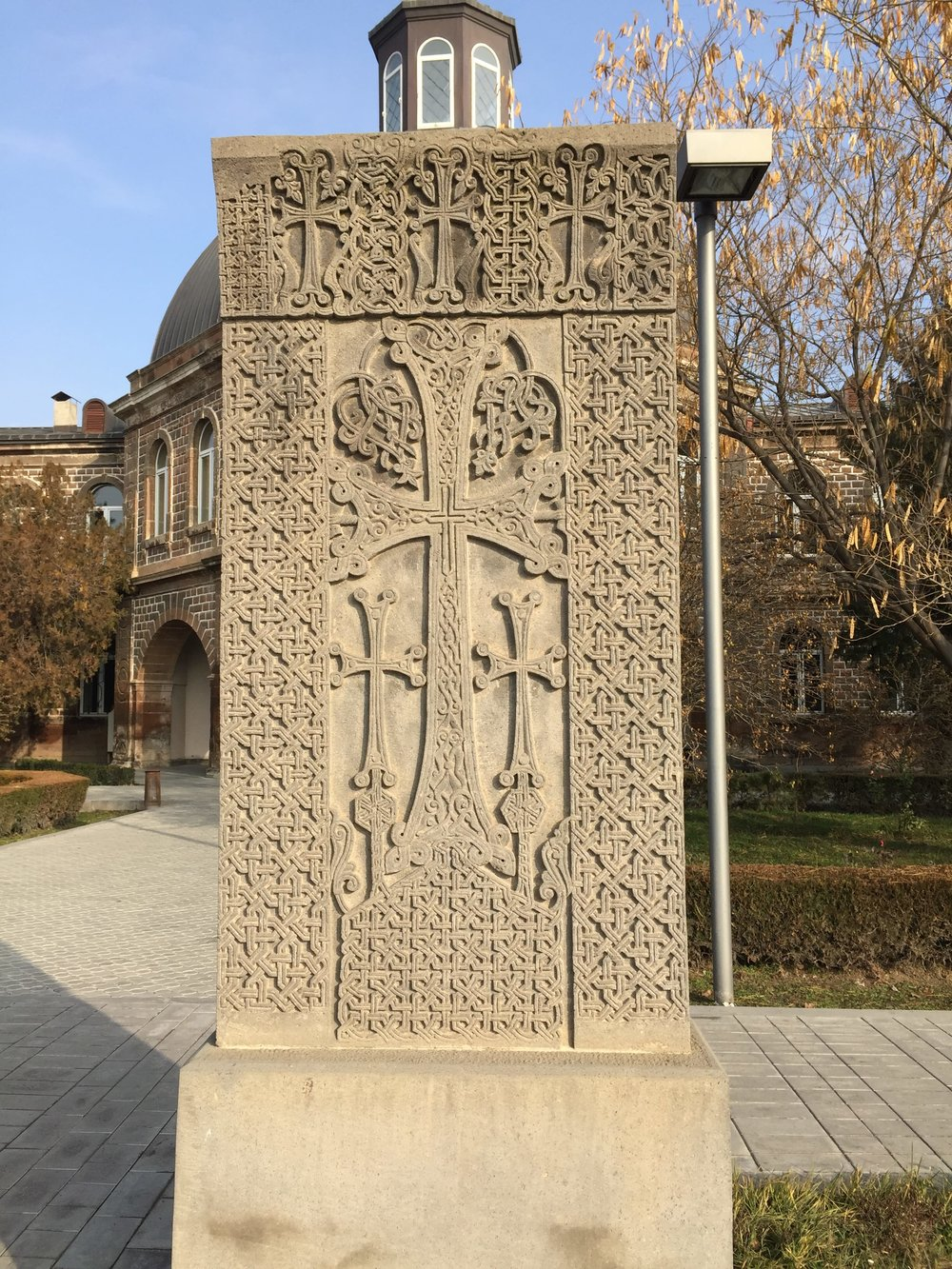 One of the many, beautifully designed khachkars (stone crosses) across Armenia.