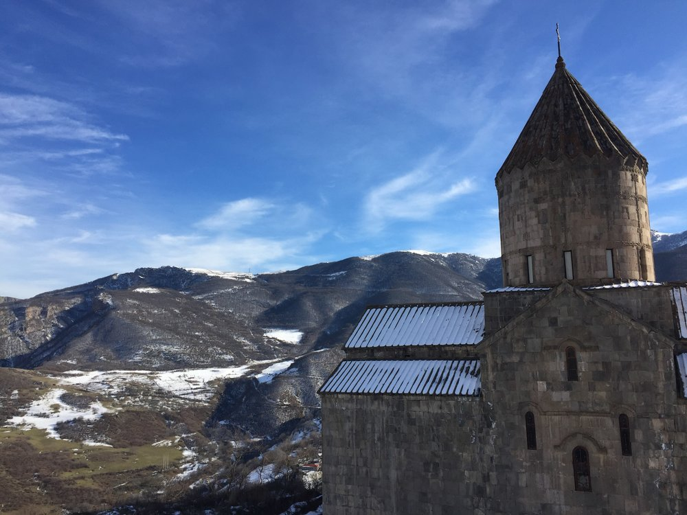 Tatev Monastery stands on the edge of a deep gorge so again you are surrounded by mountains and beautiful skies.