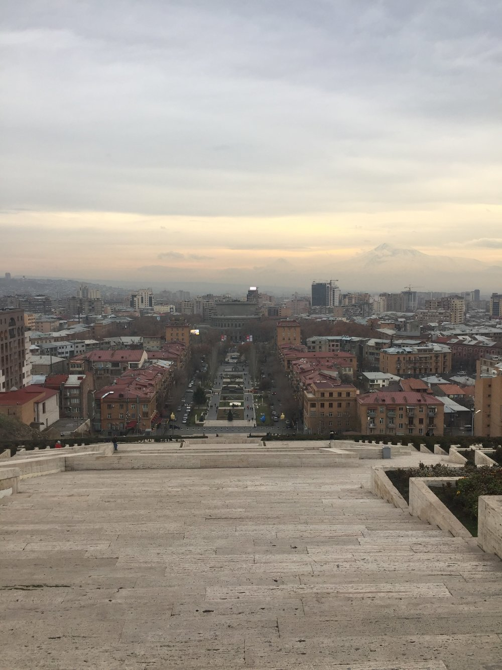 The Cascade looking over Yerevan with Mt. Ararat in the background.