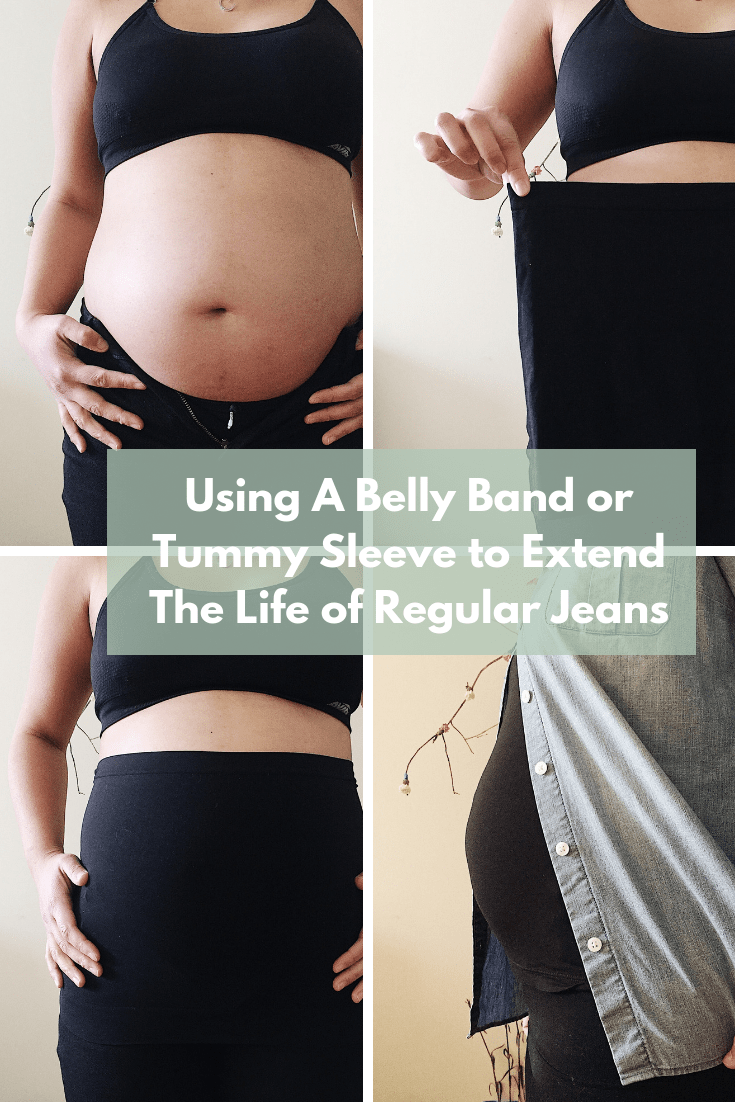 Sustainable Maternity Wear: Using a belly band or tummy sleeve to extend the life of regular jeans into maternity