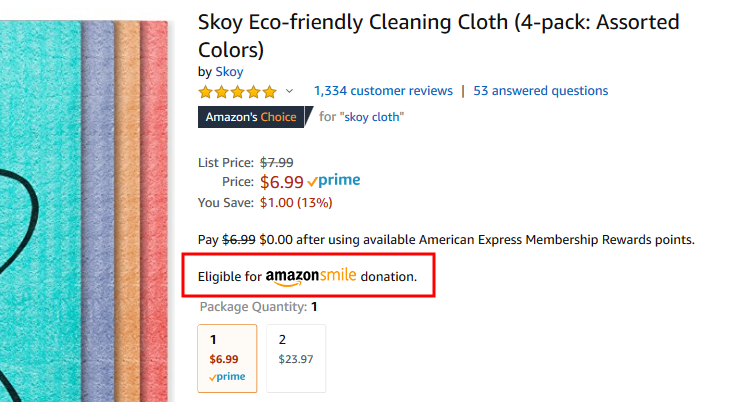 """When you see a product, look for """"Eligible for AmazonSmile donation."""""""