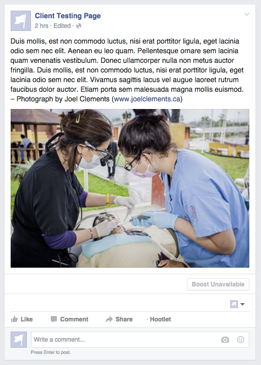 Note that in a Facebook post the photo credit should appear at the end of your post text.