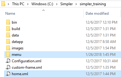 Notice the Home menu (home.xml) is in the root directory, while any menu tabs would be place in the menu folder. (above)