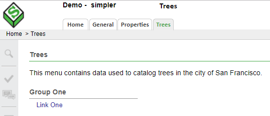 "Notice the tabular menu along the header banner, as well as the the content of the current ""Trees"" tab."