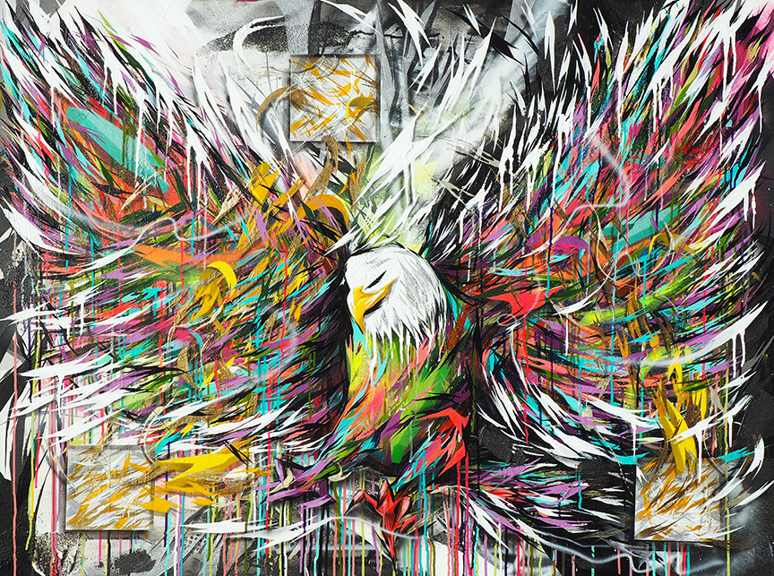 Electric Eagle, 3ft x 4ft, mixed media on canvas, 2015