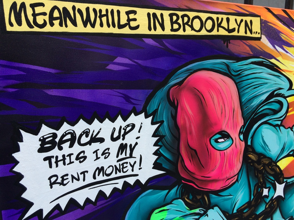 """Meanwhile in Brooklyn"" 24 x 36, Mixed Media on canvas, 2016"