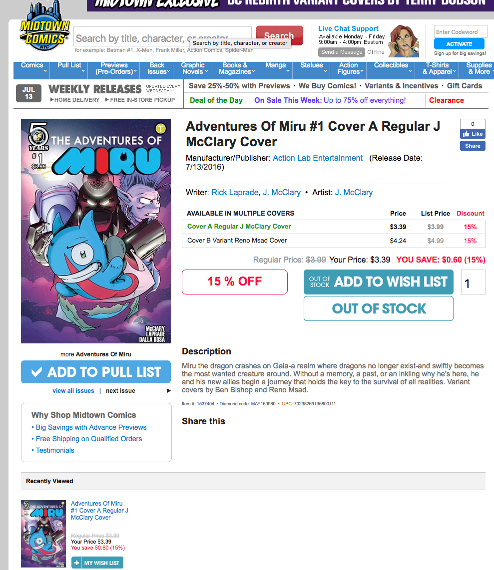 The Adventures of Miru is Sold out at Midtown Comics!