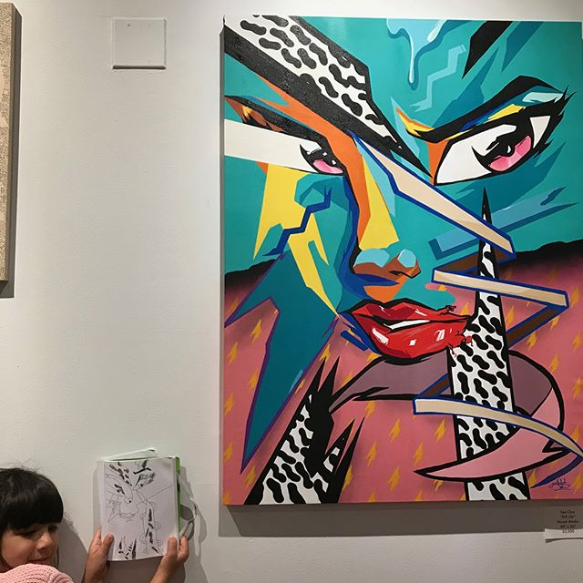 "Swipe Left 👉 Last weekend @ the Inside Out show opening this 6 yr old girl and her mom walk in and look at all the artwork. She walks back over to my piece, sits in front and pulls out her art book and says ""mommy this the one"" and sits down and starts drawing her own version of my painting 🎨Caught me right in the feels man 🤗Go see the show it's amazing @turtlecaps killed the curation, you'll love it⚡️"