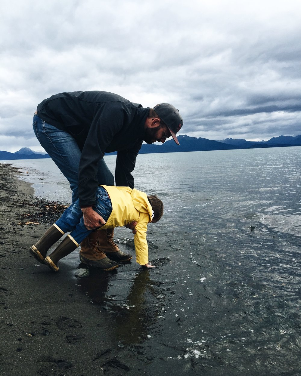 This was Abe's first time touching the ocean!  Jeremiah loves deep sea fishing, and this was the first time we've been able to make it up to AK since before Abraham was born, so this was a special  moment for sure.