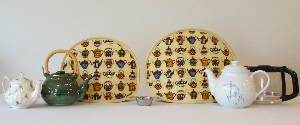 Small size is a 2- to 4-cup teapot cover; Large size covers your 5- to 12-cup teapot