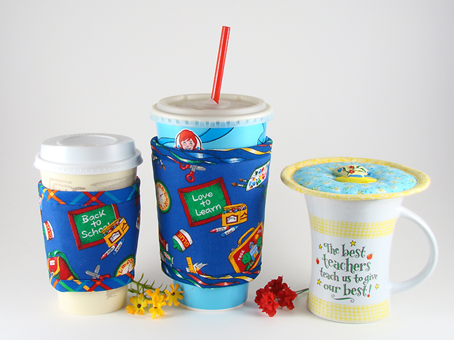 Thinsulate insulated School Daze Small Kup Kollar on 12 ounce hot take-out cup, School Daze Large Kup Kollar on 33 ounce cold take-out cup, Daisies Kup Kap on a mug.