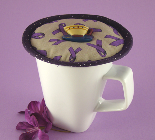 Thinsulate insulated Domestic Violence Awareness Kup  Kap on mug.
