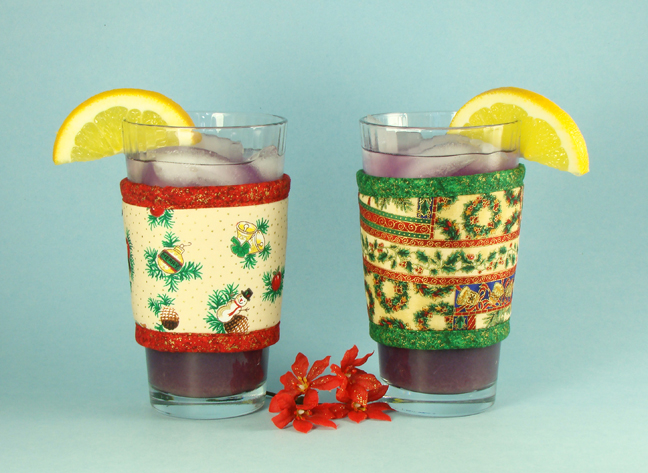 Thinsulate insulated Kup Kollars on 16 oz.glasses - Holidays and Holiday Patchwork.