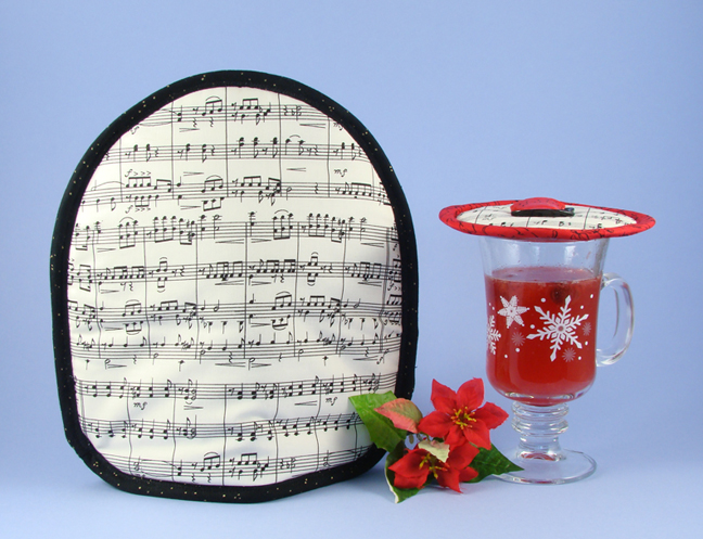 Thinsulate insulated Music Koffee Kozee over a French press.                          Thinsulate insulated Music Krescendo Kup Kap on glass mug.