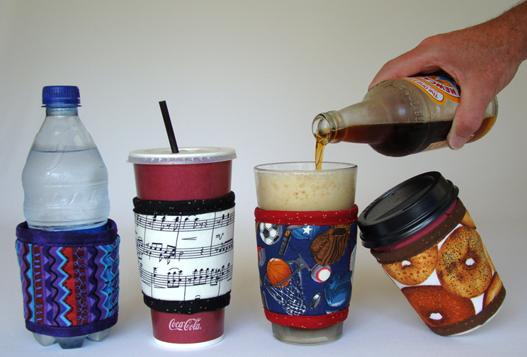 Left to right, Thinsulate insulated Kup Kollars: Africana, Music, Game Time, & Bagels.