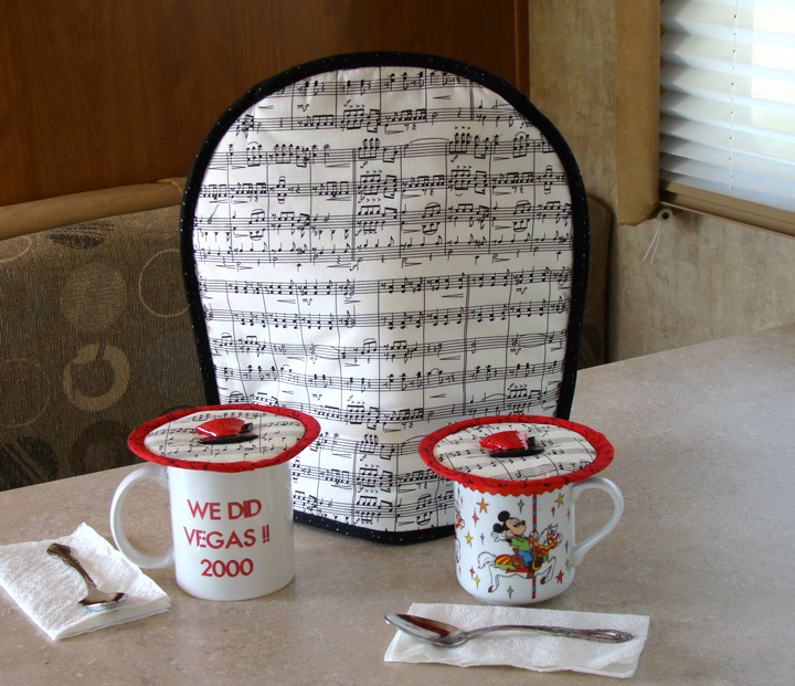 Traveling in your fun RV with your Thinsulate insulated Music for French Press Koffee Kozee and Music Krescendo Kup Kaps on souvenir mugs!
