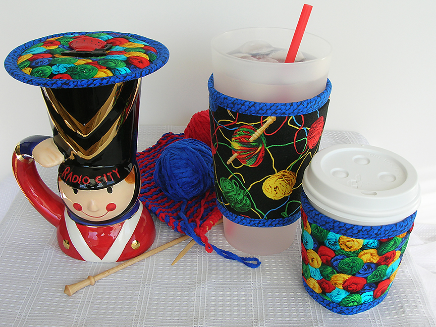 Thinsulate insulated Kup Kollars and Kup Kap for knitters to enjoy hot or cold drinks longer while they knit.