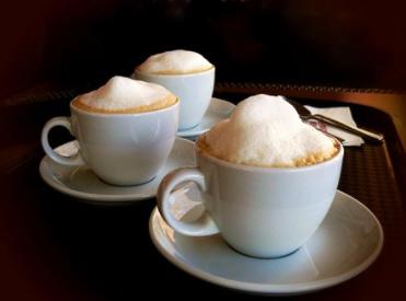 Cappuccinos: 1/3 milk, 1/3 espresso, 1/3 foam