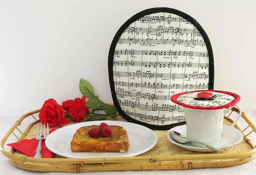 Koffee Kompanions'  Music French press cover  and  Music Krescendo cup cover  keep your coffee hotter longer while enjoying French toast.