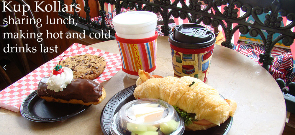 One of Koffee Kompanions  many products  --cup wrap, cup lid, French press cozy, teapot cozy, coffee carafe cozy, and ice cream pint cozy-- insulated with 3M Thinsulate insulation (TM) to keep your beverages hot or cold longer.