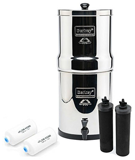 Berkey countertop water-filtering system.