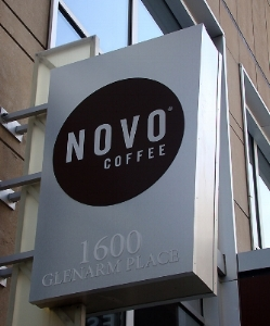 2013 Sept 14 Denver Caffeine Crawl 6588 Novo outside sign.jpg