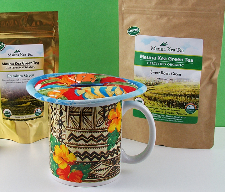 "Mauna Kea's ""premium Green"" is a first flush tea; ""sweet Roast Green"" is from the second harvest. Kup Kap by koffeekompanions.com keeps green teas at perfect temperature to enhance your drinking pleasure"