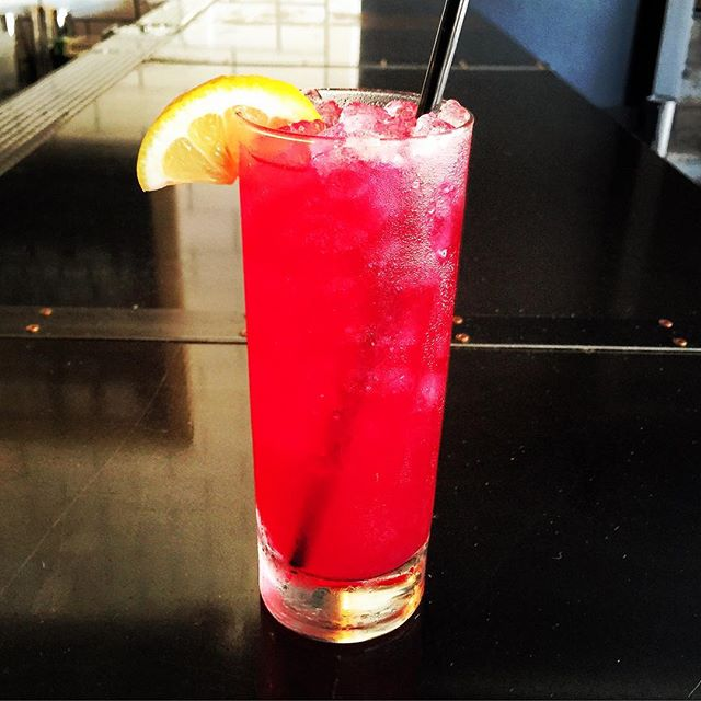 The cocktail of the day today is a blueberry lavender gin Rickey. Only $5 during Happy Hour!