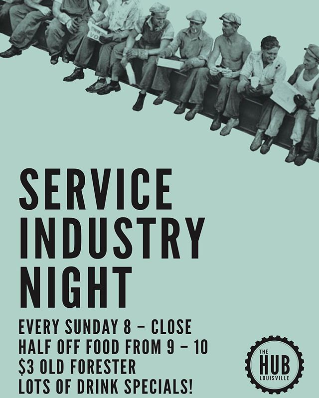 Introducing... Service Industry Night Sundays! Our way of showing our appreciation for everyone in the service industry. Amazing drink specials, including $3 Old Forester, and half off food from 9-10!