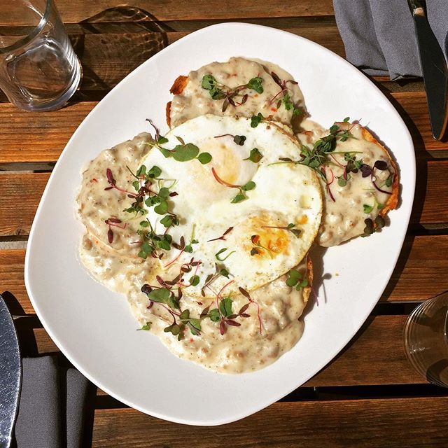 Biscuits and Gravy: scratch buttermilk biscuits, homemade sausage gravy, sunnyside eggs. Pairs perfectly with a $1 Mimosa! See you at brunch!!