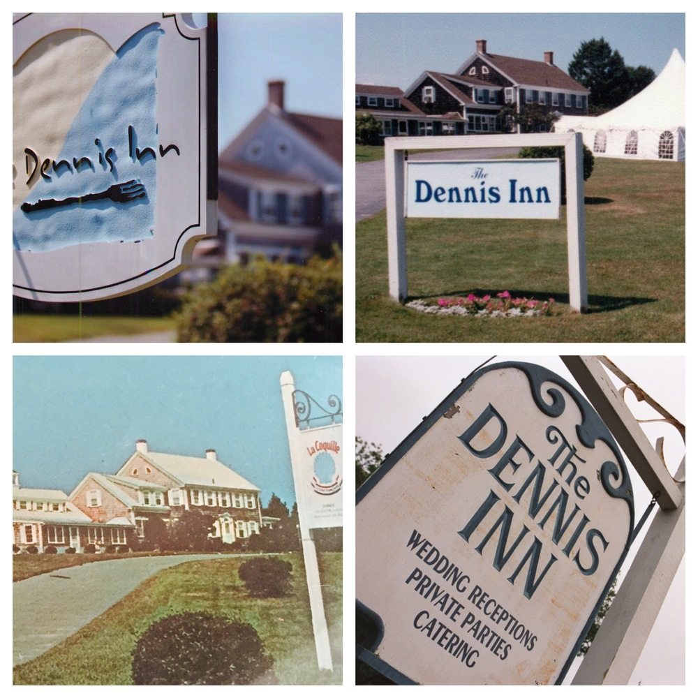Some of the various signs over the past 40 years at the Inn's grand entrance lawn.