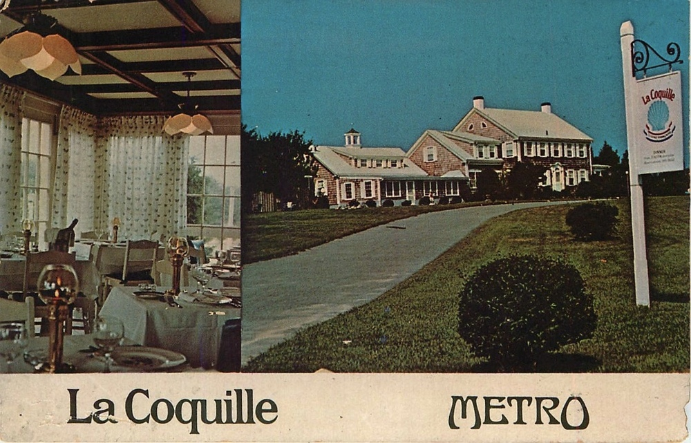 A postcard for the La Coquille Restaurant and Metro Cafe from the 1970s