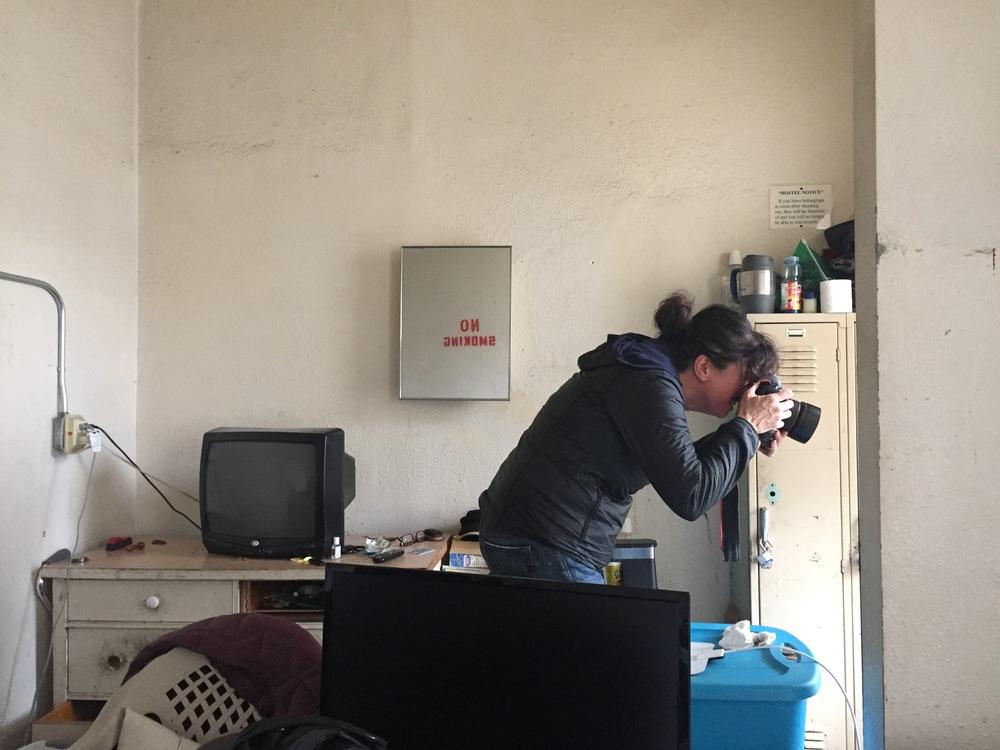 Beth Nakamura shoots inside the Joyce Hotel.