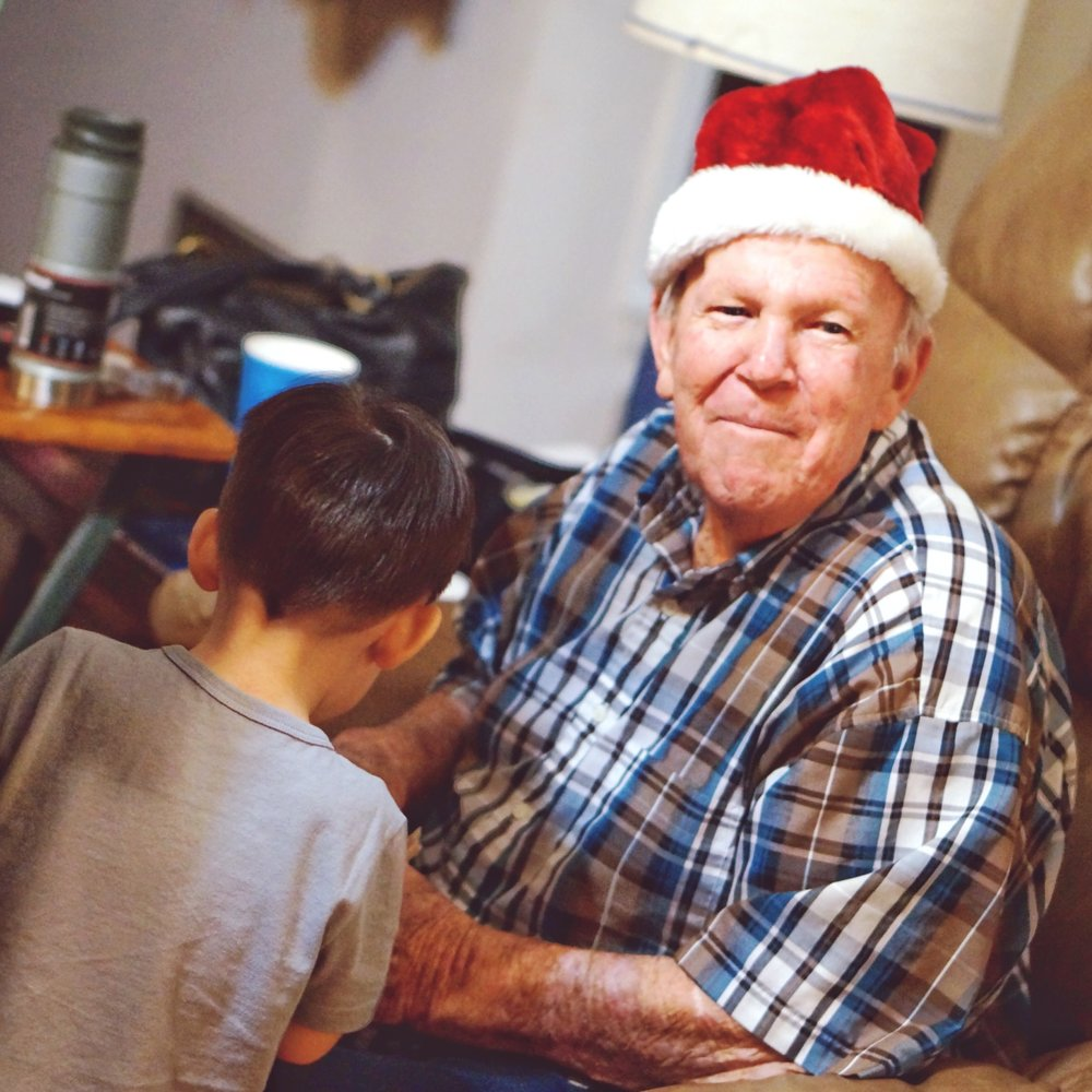 Grandpa Barber, Christmas 2016, at their house. The last time I saw him. Full of joy and love.