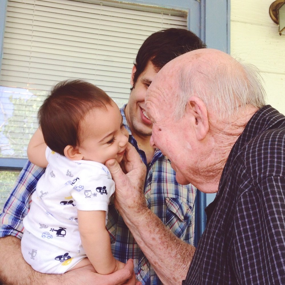Grandpa Barber with Lawson (my husband) and our son Jonathan who was 9 months old at the time (2014).