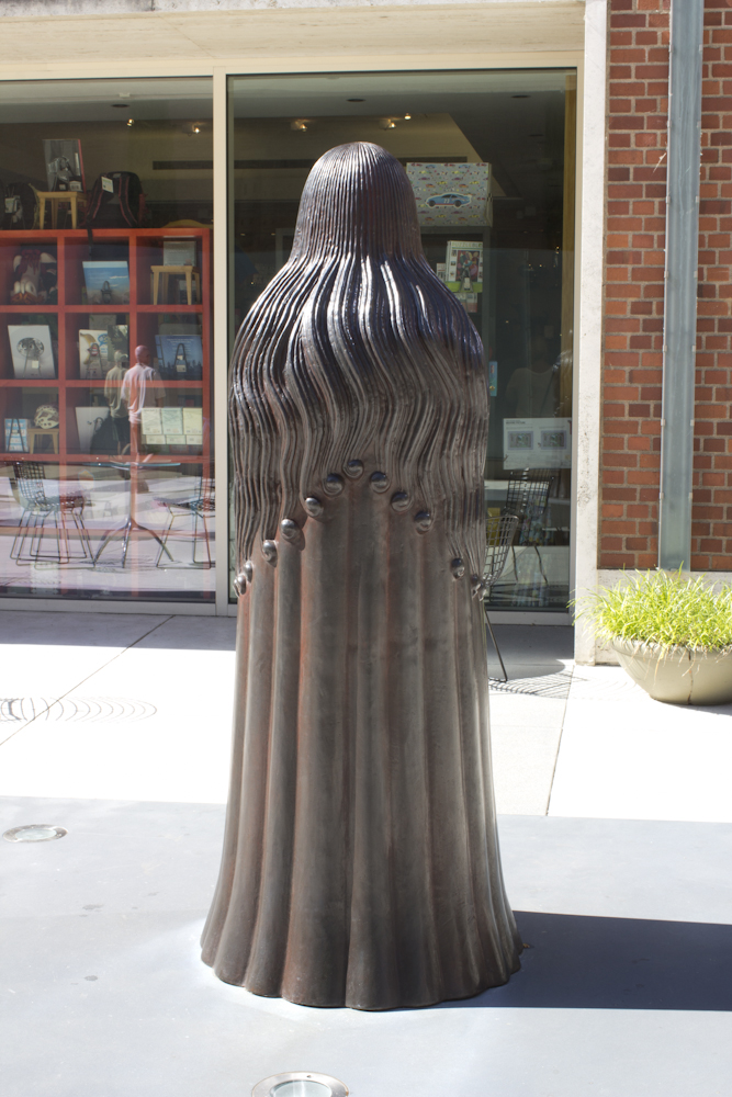 Madrina, by Mark Calderon on display in the Evan H. Roberts Memorial Sculpture Mall of the Portland Art Museum.
