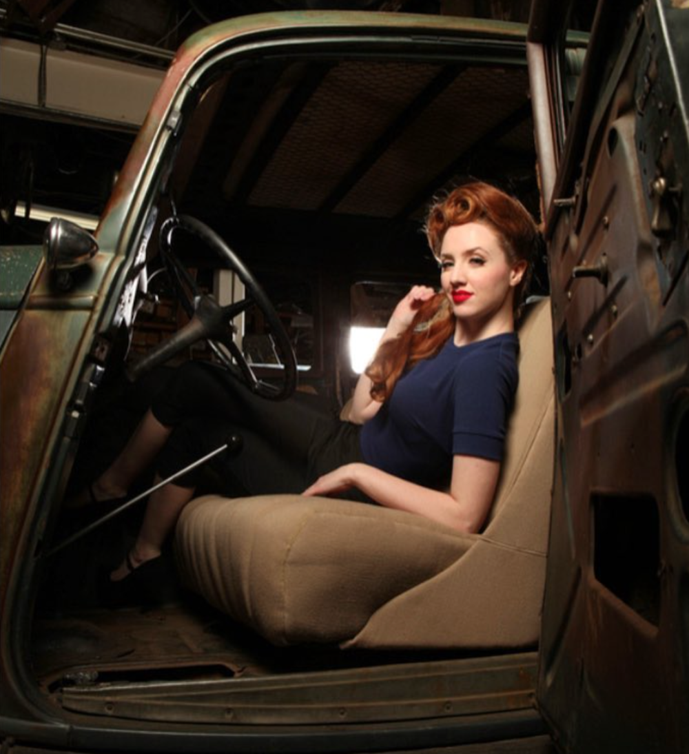 Bettie Page Clothing Model Miss Vintage Ivy Photo by Mitzi and Co pinup redhead victoryrolls classic.png