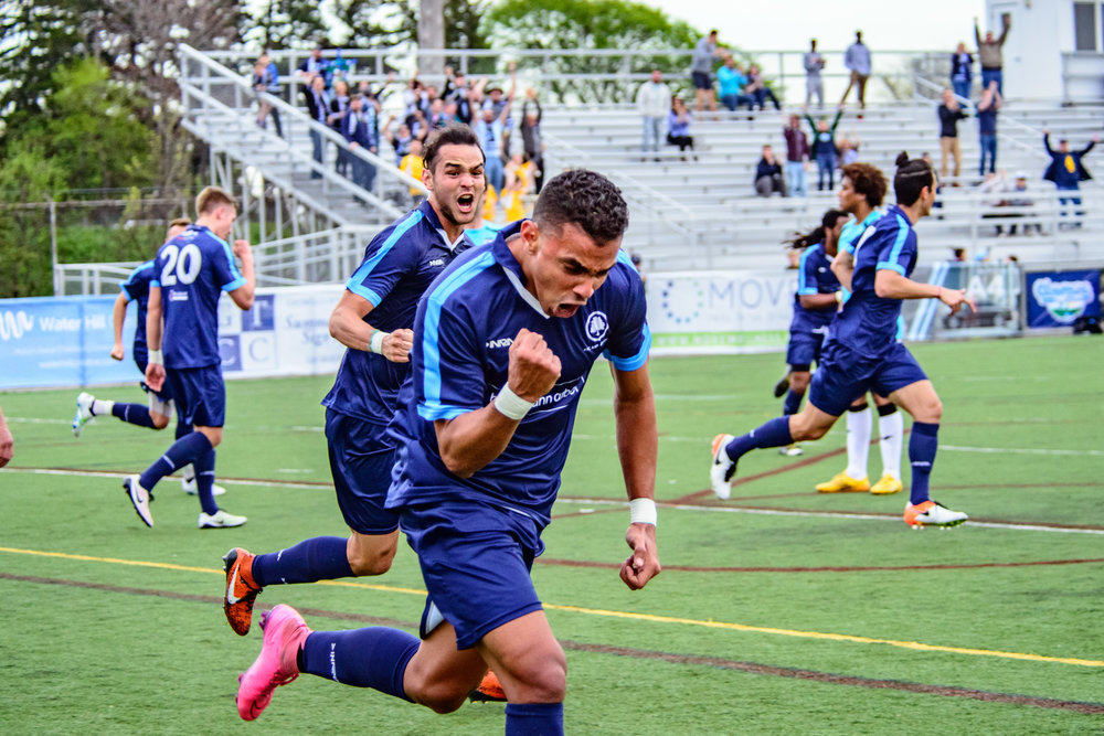 Dario Suarez celebrates after scoring against Kalamazoo FC last summer