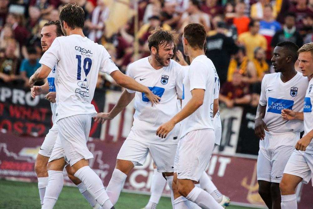 A brace from James Vaughan helped Ann Arbor earn a 3-1 road victory over Detroit City FC