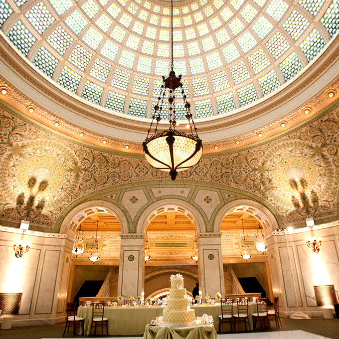 The  Chicago Cultural Center  is one of the country's most grand and historic venues. Lend your wedding a sense of majesty by getting married here!