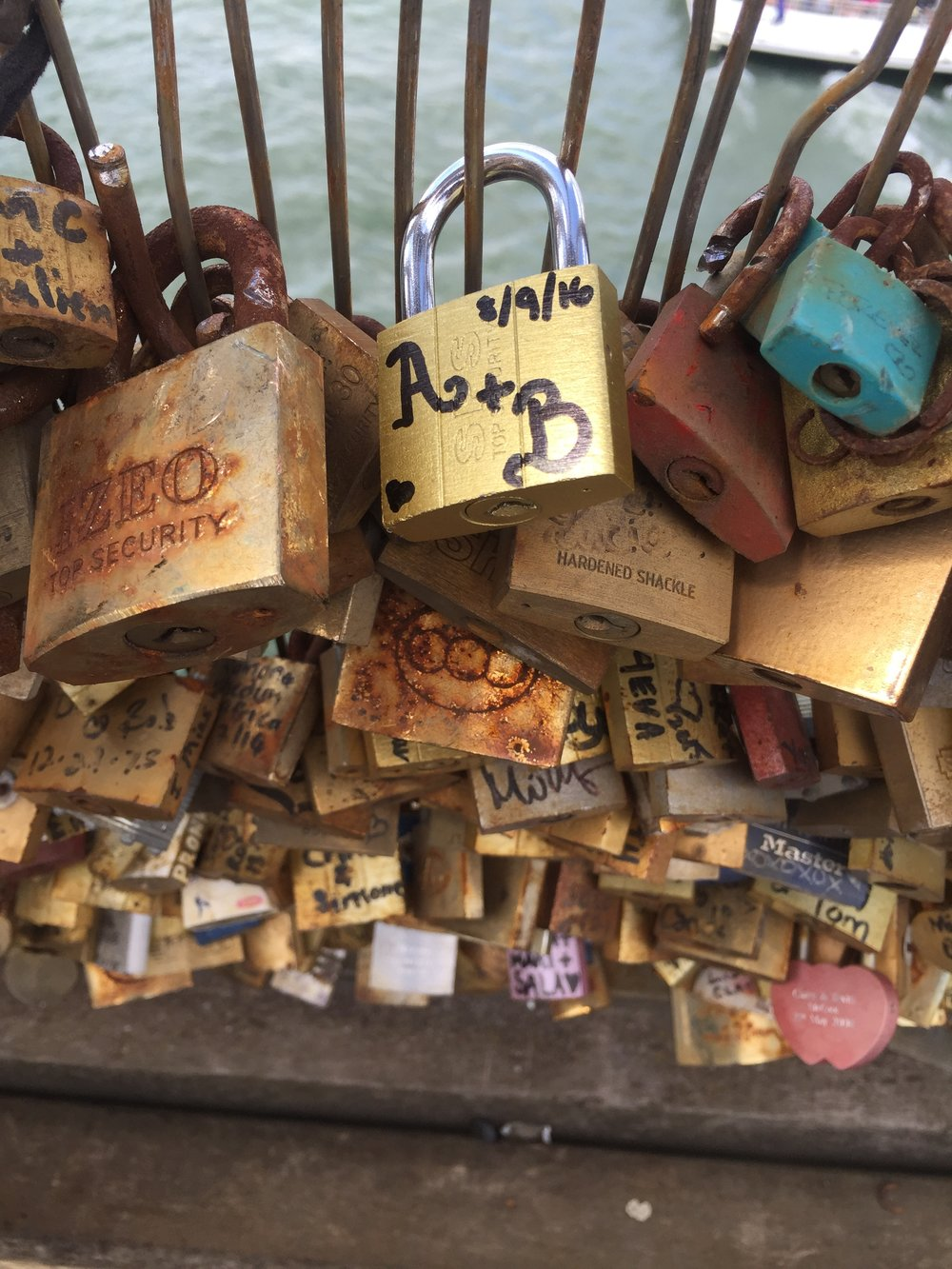 Brian and Adam's love lock on the Pont des Artes in Paris