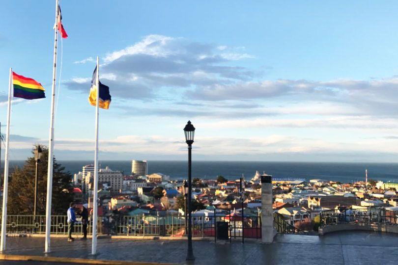 A Pride flag flying over Punta Arenas.