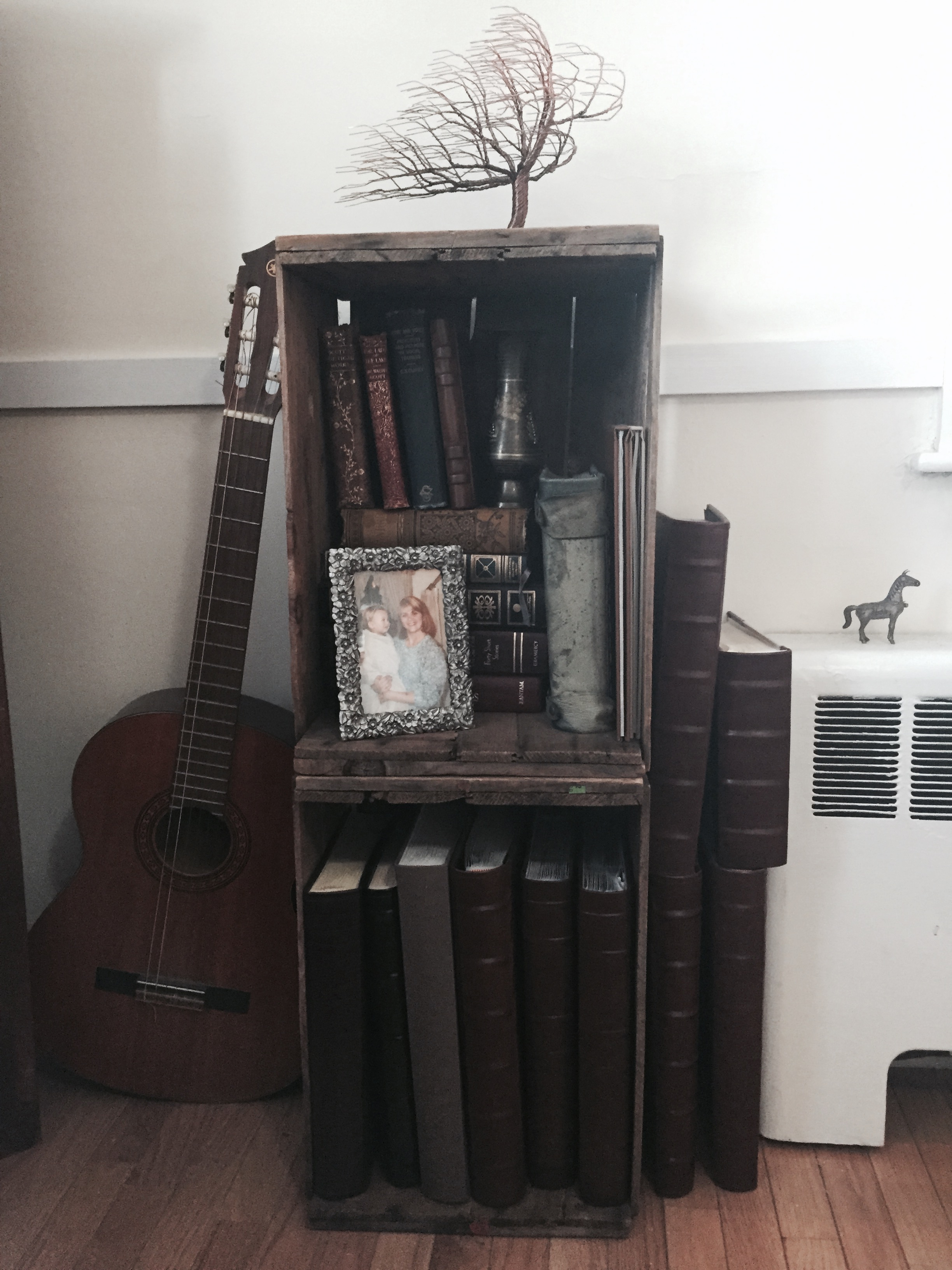 We used these apple crates at our wedding and now they hold our photo books full of memories and faces we love.