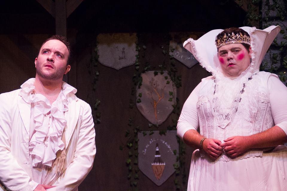 Jesse James Thomas as Cloten, Thomas Bigley as the Queen; photo by Mandi Moss
