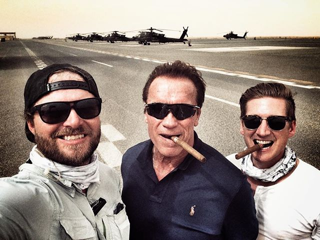 About to hop a Blackhawk with these two crazy cats @schwarzenegger and @dketch22 #allinadayswork