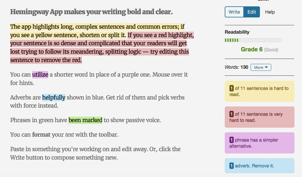 best tools to make you a better student zero effort  hemmingway app highlights long complex sentences and common errors making it super simple to