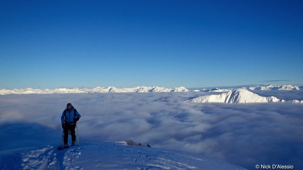 Student on ski guide training, Remarkable Adventures, Alaska