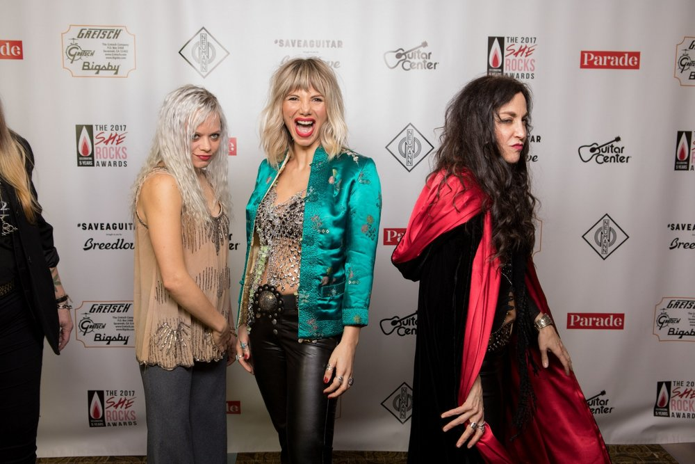 Marlain Angelides with Lez Zeppelin on She Rocks red carpet
