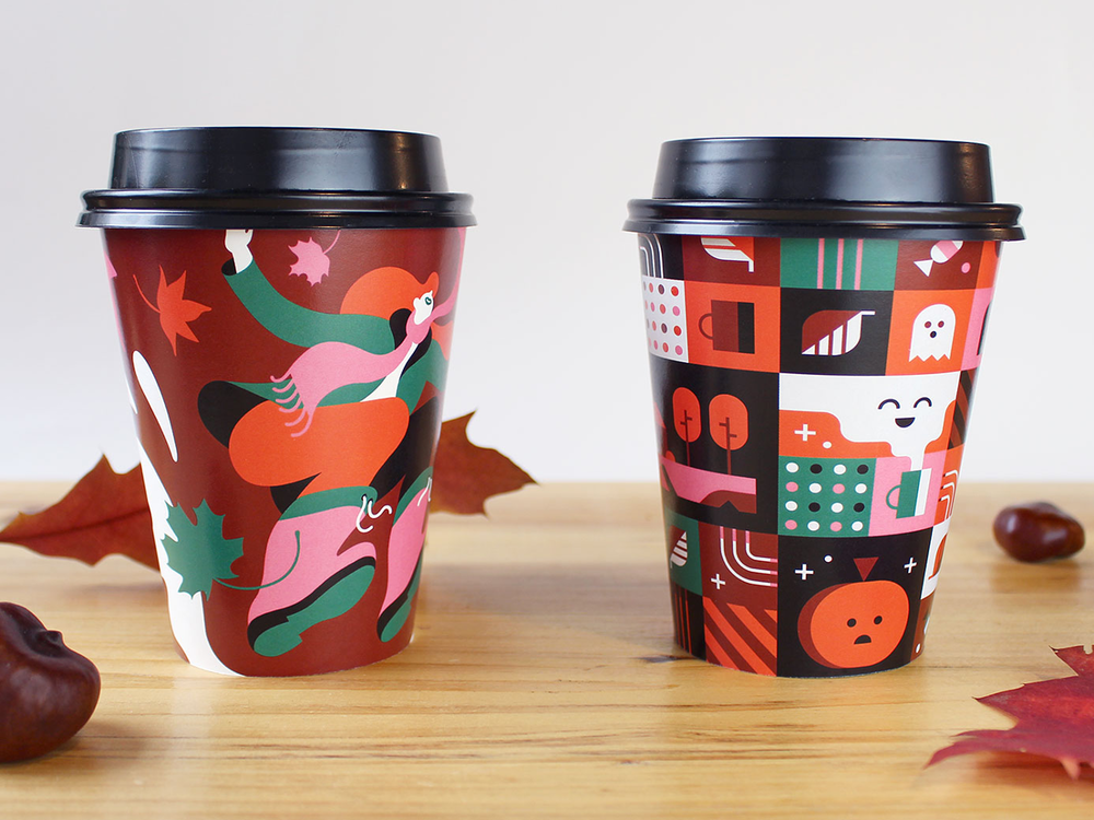 Drip for Drip halloween illustration and coffee label by Alex Pasquarella